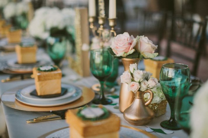 Emerald green engagement party