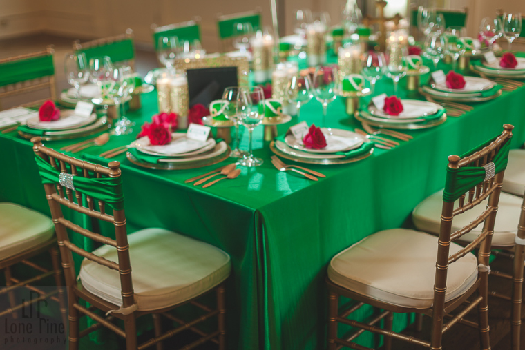 Emerald green event decoration