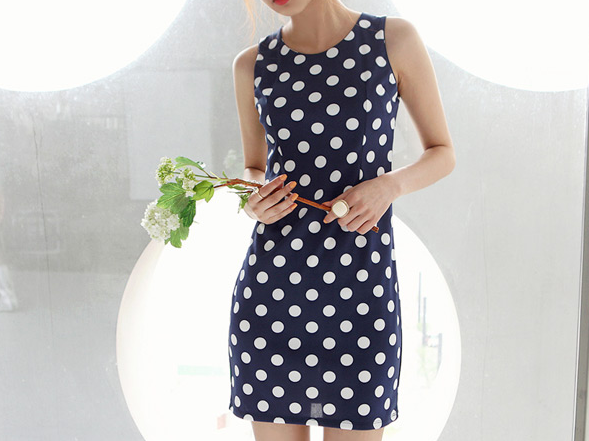 Polka Dots Blue Dress Summer Party