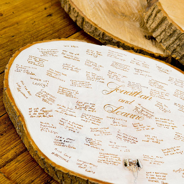 Wedding wishes rustic tree trunk slice