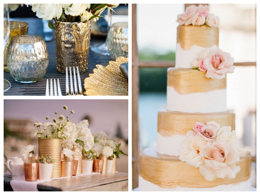 Metallic Gold Colours Wedding Mallorca
