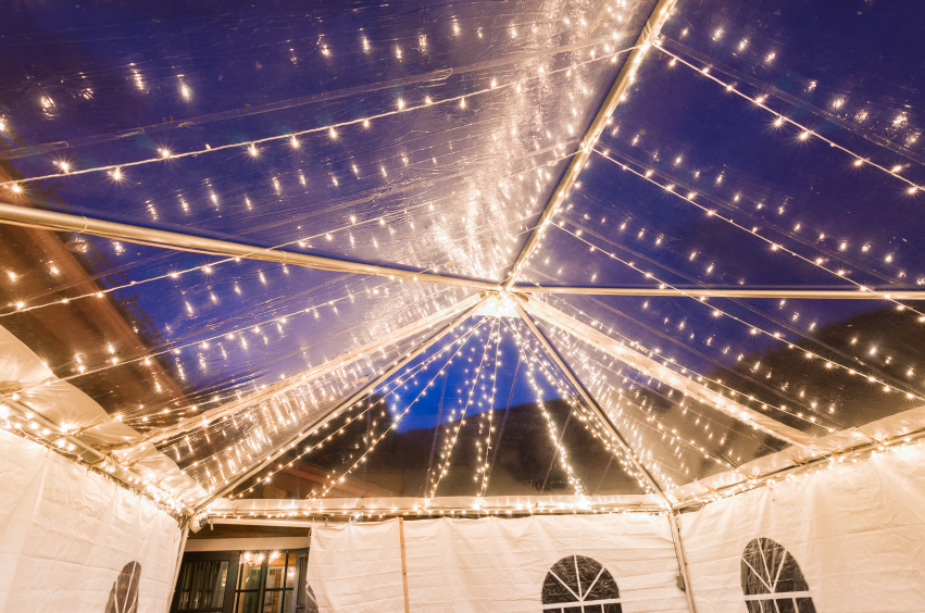 Outdoor Summer Wedding Mallorca Tent Lighting